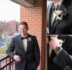winter wedding, black tux, anemone boutonniere, brunnia #anemone #fleurtaciousdesigns  © Matt Ramos Photography
