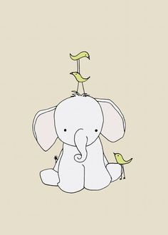 Elephant Nursery Art Print Nursery Decor by SweetMelodyDesigns, $10.00