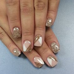 Nude and gold glitter nails #diynails