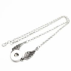 Alloy wing Necklace w/Snap Button and long Link chain Button Necklace, Necklace Types, Angel Wing Necklace, Shape Patterns, Necklace Designs, Engagement, Chain, Angel Wings, Pendant