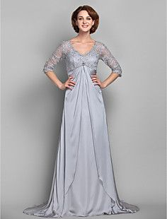 Sheath/Column+V-neck+Lace+And+Satin+And+Chiffon+Mother+of+th...+–+USD+$+117.99