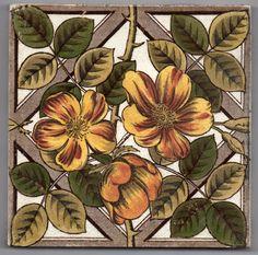 Victorian Sherwin & Cotton, roses on a trellis ceramic tile
