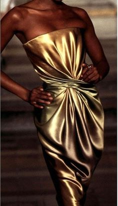 fabulous antique gold tone - liquid gold dress by alexander mcqueen for givenchy.
