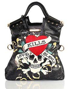 Love kills slowly Ed Hardy bag