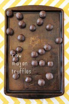"""""""Raw Mayan Truffles -- A decadent raw truffle featuring almonds, dates and cocoa powder, and a touch of cinnamon, nutmeg and extra-hot cayenne.""""  (This is mostly almonds.)"""