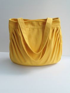Yellow tote bag --handmade bag/handbag/tote/Shoulder bag-yellow canvas fabric by lalitathaicraft. $35.00, via Etsy.