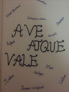 Ave atque vale; hello and goodbye the mortal insturmats dies
