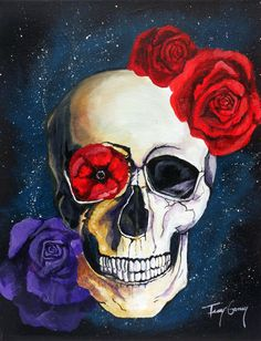Flowers and Skull Galaxy C-Print (Reproduced Print of Original Artwork, Chromogenic Print, or C-Print) Fantasy Art;