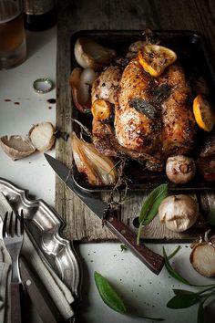 Roast chicken with garlic, lemon  sage