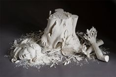 In her delicate crafted porcelain sculptures conceptual artist Kate McDowell expresses her interpretation of the clash between the natural world and the modern-day environmental impact of industrialized society. The resulting works can be equal parts amusing and disturbing as the anatomical forms of humans and animals become inexplicably intertwined in her delicate porcelain forms.