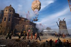 On the set of the Germano-English film The Adventures of Baron Munchausen, directed by Terry Gilliam.