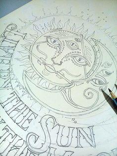 Ilustração camiseta Sol e Lua
