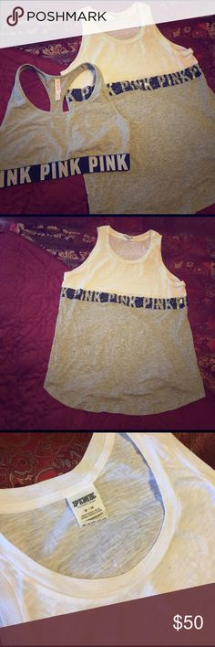 VSPINK Sequin Tank+Sports Bra Bundle VSPINK sequin tank(size: M; fits large) with matching VSPINK sports crop(size L) PINK Victoria's Secret Tops Tank Tops