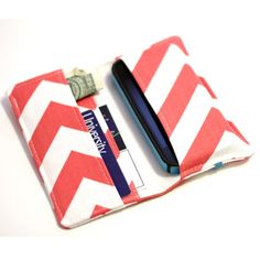 Cell Phone Wallet - Chevron Print - Coral and White - Smart Phone Wallet