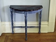 little blue side table re do, painted furniture, After