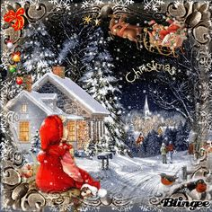 Christmas - Christmas You are in the right place about diy Here we offer you the most beautiful pictures about - Winter Christmas Scenes, Merry Christmas Gif, Christmas Scenery, Christmas Night, Magical Christmas, Christmas Wishes, Christmas Art, Beautiful Christmas, Vintage Christmas