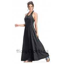 Sheelin A Line Retro Vtg Hippie Bohemian Maxi Halter Sun  Dress $45 !!!! LOVE THIS!