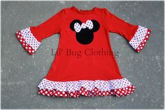 Comfy Knit Christmas Minnie Mouse Dress Red by LilBugsClothing, $39.99