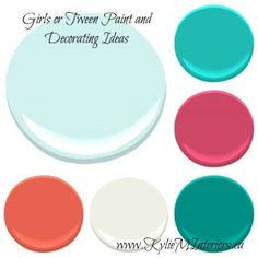 Paint colour and decorating ideas for girls or tween using benjamin moore icy moon drops, hot pink, coral, teal and white,  Great organizing ideas too...