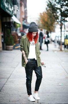 gray beanie + olive cargo jacket + white tee + black leather pants + white sneakers