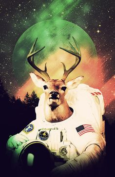 Space Buck Astronaut Poster Space Print Mountain by Redfunkovich