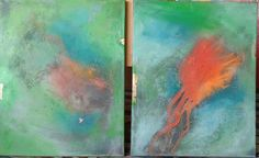 Farbspielereien auf Leinwand.  Reine Pigmente 2x 50x70 cm