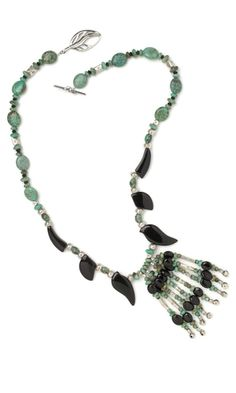 "Single-Strand Necklace with Black Onyx and African ""Turquoise"" Gemstone Beads"