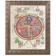 Trademark Fine Art Map of Jerusalem and Palestine Canvas Art, Gold Ornate Frame, Size: 11 x 14