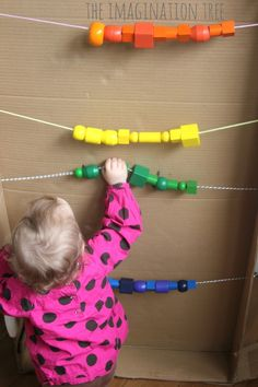 Giant abacus in a cardboard box for counting and addition fun! I was thinking this could be good adapted in an outdoor play area, perhaps between two fence posts?