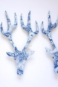 Mr Roe (blue flowers) textile wallhanging by Kirsty Anderson.