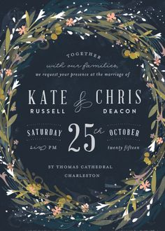 wedding invitations - Floral Crown by Lori Wemple