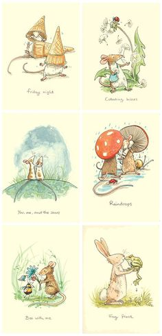 Selection of Anita Jeram's greetings cards printed by Two Bad Mice Publishers  (http://creativesketchbook.blogspot.co.uk/2012/05/anita-jerams-adorable-childrens.html):