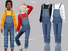 Kid Uni Overalls Denim Long Sleeve - The Sims 4 Toddler Cc Sims 4, Sims 4 Toddler Clothes, Sims 4 Cc Kids Clothing, Sims 4 Mods Clothes, Children Clothing, Sims Four, Sims 4 Mm, The Sims 4 Bebes, Sims 4 Body Mods