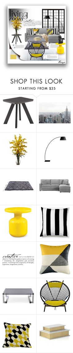 """""""Yellow & Grey Living Room ( Top Home Sets for May 16th 2016 )"""" by tazyaa ❤ liked on Polyvore featuring interior, interiors, interior design, home, home decor, interior decorating, Nearly Natural, Unison, WALL and KAS Australia"""