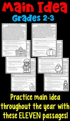 Main Idea and Supporting Details Worksheets for 2nd and 3rd grade- spiral main idea practice through the school year with these monthly main idea passages!