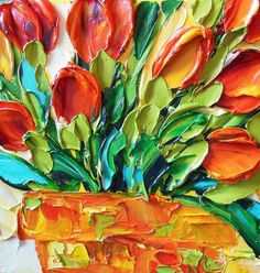Oil Painting Red Tulips Impasto Painting