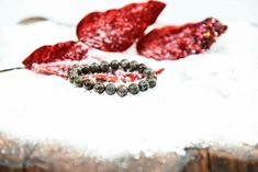 All eyes on the red snowflake jasper beads. With its unique patterns similar to those of a snowflake, matching outside's wheather.  #jointheworldofbalisarda