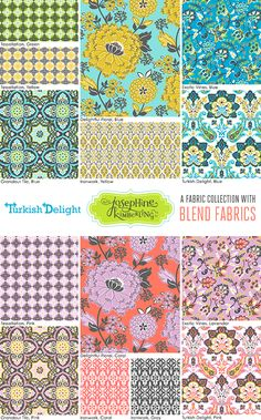 """Josephine Kimberling's """"Turkish Delight"""" fabric collection with Blend Fabrics!"""