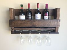 Rustic Wine Rack, Wood Wine Rack, Wall Wine Rack, Rustic Kitchen Decor, Wedding Gift, Housewarming Gift, Groomsman Gift, Bridesmaid Gift by MyModernRustic on Etsy https://www.etsy.com/listing/269608140/rustic-wine-rack-wood-wine-rack-wall