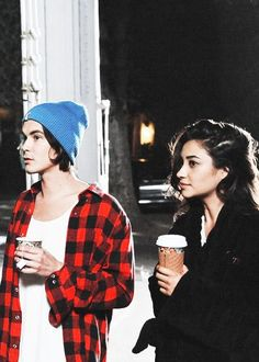 Tyler Blackburn (Caleb Rivers) and Shay Mitchell (Emily Fields) on the set of Pretty Little Liars. #PLL