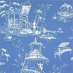 Tea House Meridian Wallpaper, Blue - asian - wallpaper -  - by Thibaut