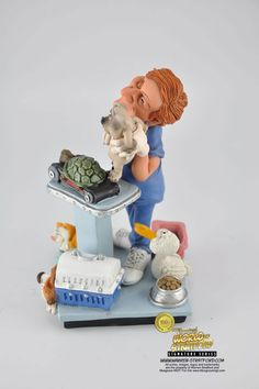 Collectible funny Veterinarian or Pet Doctor gift and figurine. Perfect for Christmas present, store opening, retirement or thank you gift.