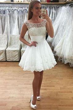 Cheap Short Prom Dresses, White Homecoming Dresses, Cheap Party Dresses, Short Lace Dress, Cheap Evening Dresses, Dress Party, Dress Lace, Lace Dresses, Graduation Dresses