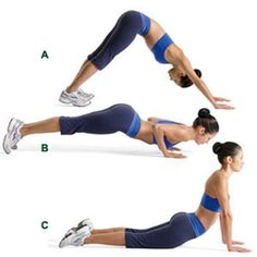 Dive Bomber push up!  Try this to sculpt arms, strengthen core and increase flexibility.