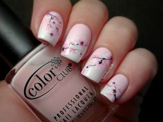 Nailpolis Museum of Nail Art | Pink Gradient with Cherry Blossoms by Kim