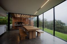concrete, glass and wood - may fave combo (and thats my dining table)