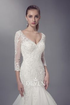 Long Sleeves V-Neckline Sheath Beaded Lace Applique Bodice Wedding