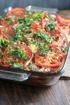 Vegan Rustic Eggplant Spinach Lasagna.
