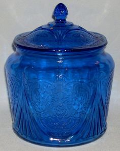 Royal Lace Cobalt Blue Depression Glass Cookie Jar - Beauty