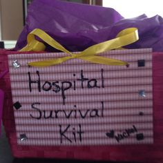 Baby Shower Hospital Survival Kit: Granola bars-healthy snack for the Mom M not-so-healthy snack for Mom Purell  Kleenex Chapstick Deodorant  Facial cleansing wipes Socks Mints  And of course a disposable camera just in case the mom forgets :)